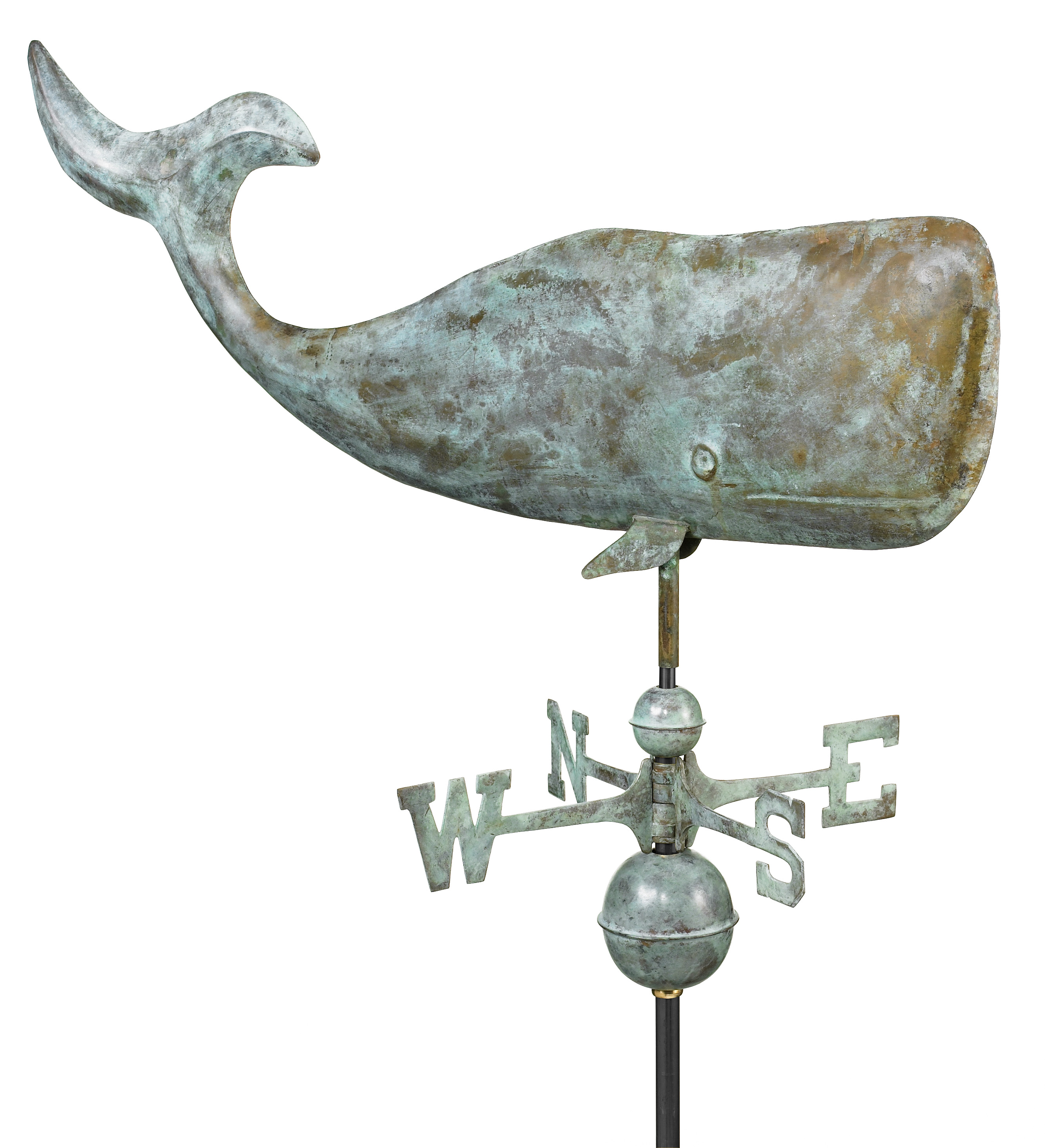 Blue Veder Large Whale Weather Vane