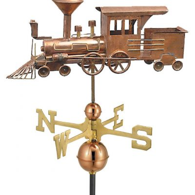 Polished Copper Locomotive Weather Vane