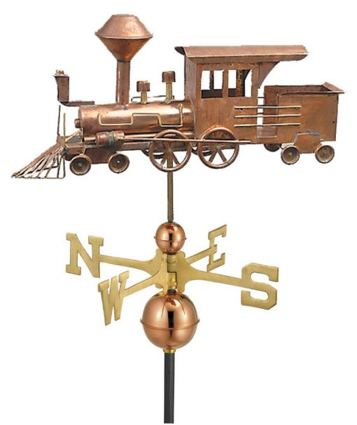 Polished Copper Locomotive Weather Vane