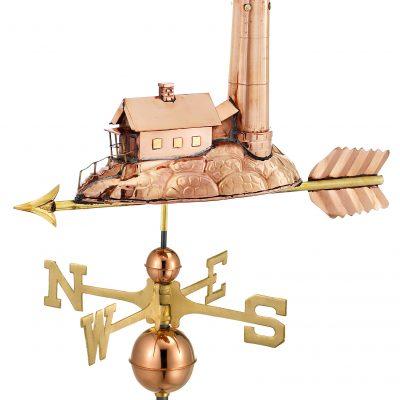Polished Copper Lighthouse Weather Vane
