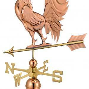 Polished Copper Crowing Rooster Weather Vane