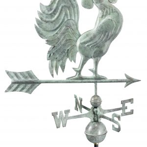 Blue Verde Crowing Rooster Weather Vane
