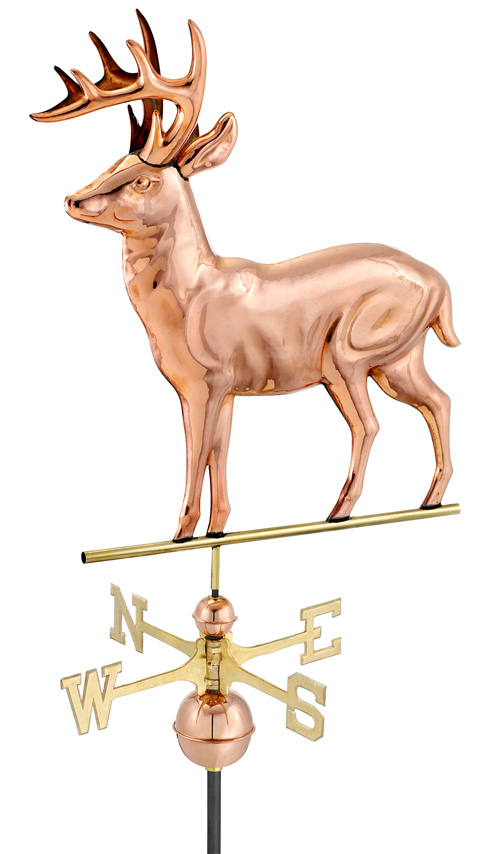 Polished Copper Standing Deer Weather Vane