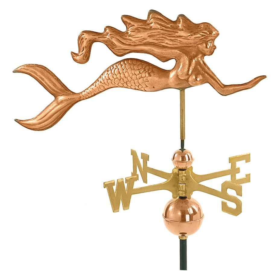 Polished Copper Mermaid Weather Vane