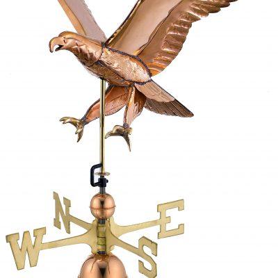 Polished Copper Attack Eagle Weather Vane