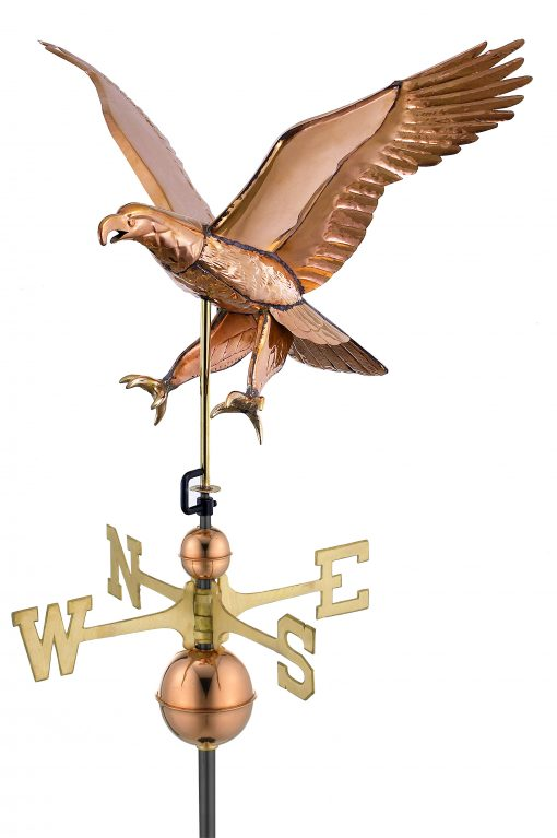 Polished Copper Attack Eagle Weather Vane