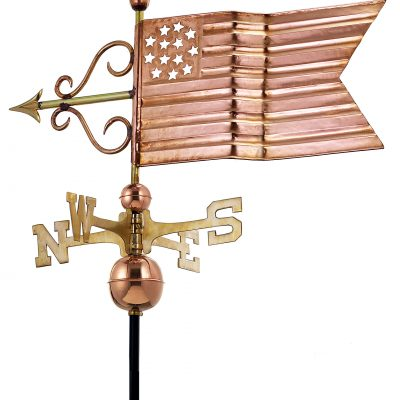 Polished Copper American Flag Weather Vane