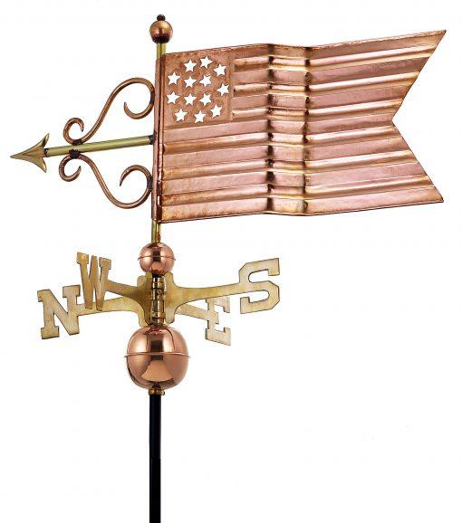Polished Copper American Flag Weather Vane