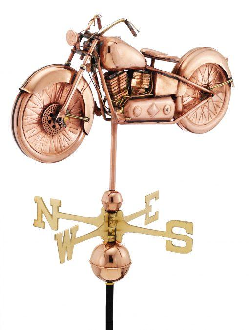 Polished Copper Motorcycle Weather Vane