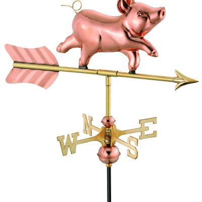 Polished Copper Pig Weather Vane