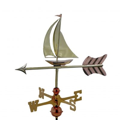 Polished Copper Sail Bot Weather Vane