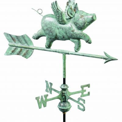 Blue Verde Flying Pig Weather Vane