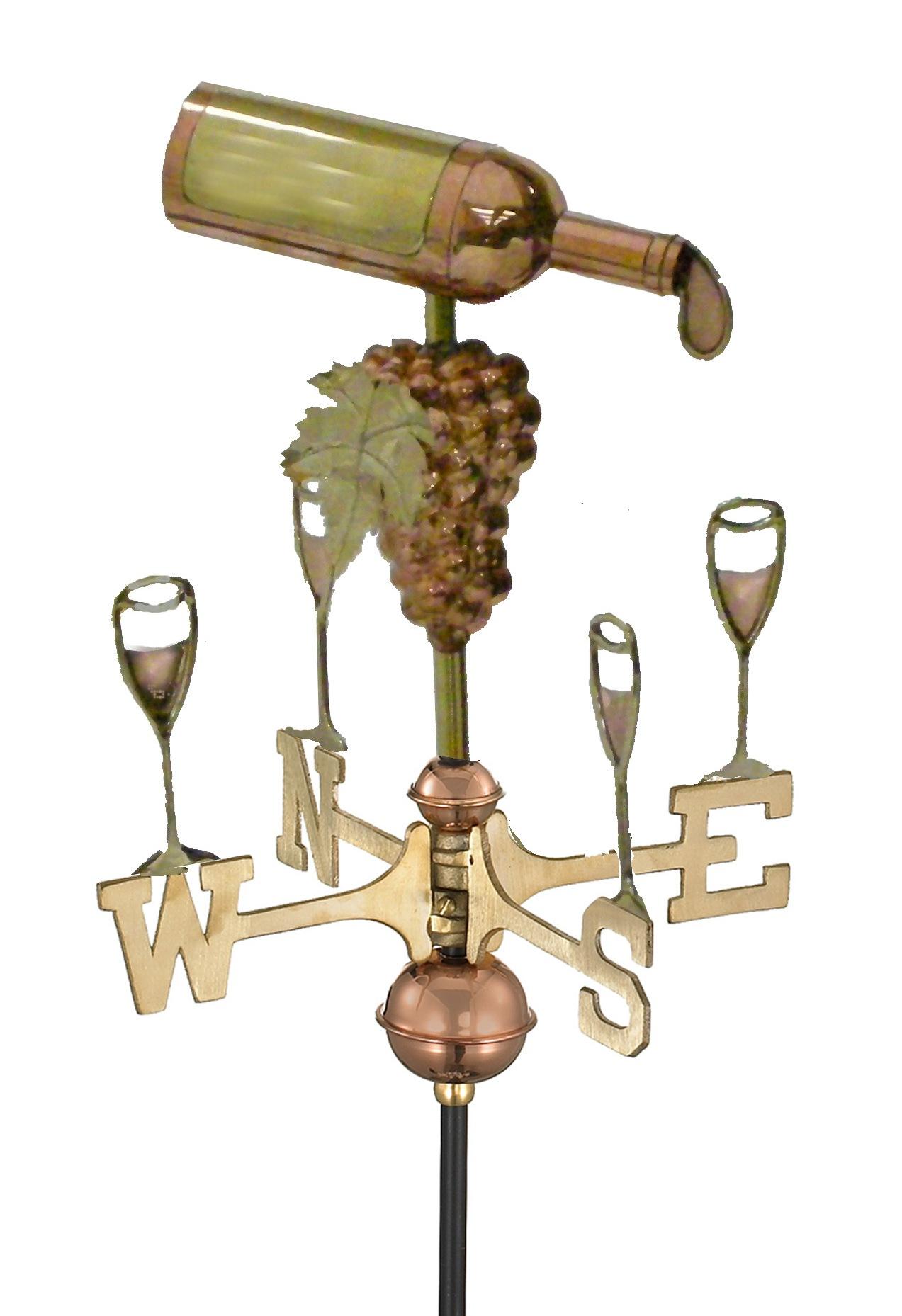 Polished Copper Wine Bottle Weather Vane