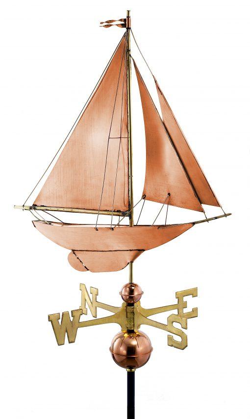 Polished Copper Sail Boat Weather Vane