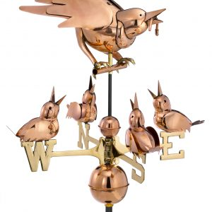 Polished Copper Mother Bird w/ Chicks Weather Vane