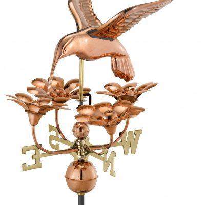 Polished Copper Hummingbird and Flowers Weather Vane