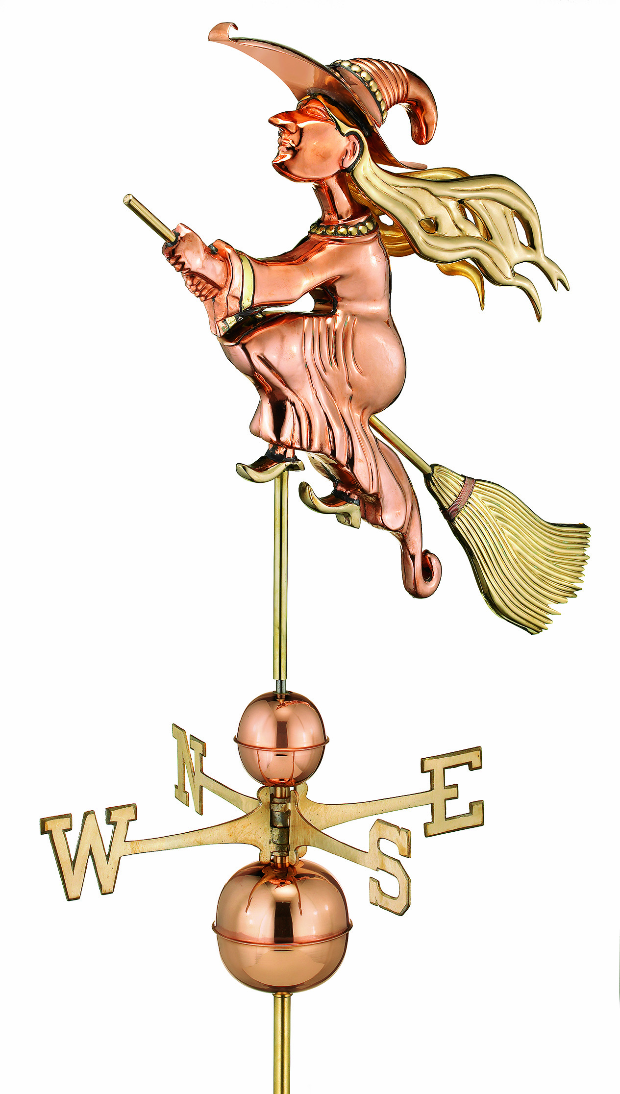 Polished Copper Witch Weather Vane