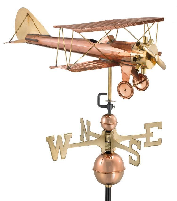 Polished Copper Bi-Plane Weather Vane