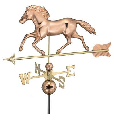 Polished Copper Running Horse Weather Vane