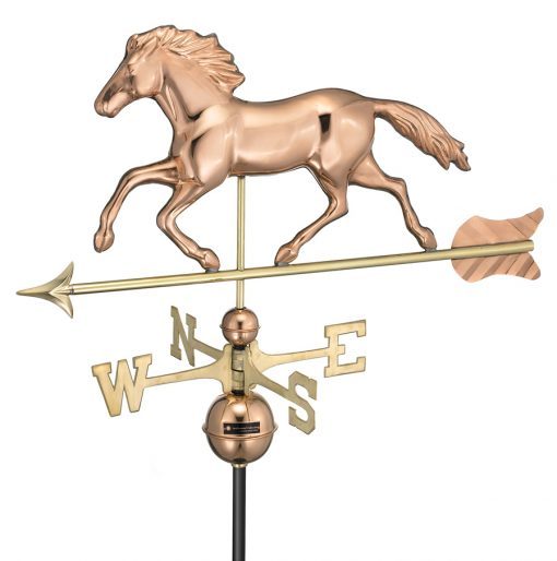 Polished Copper Running Horse Weather Vane