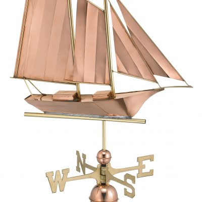 Polished Copper Schooner Weather Vane