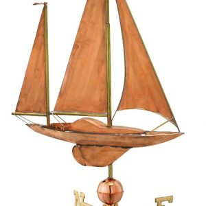 Polished Copper Large Sailboat Weather Vane