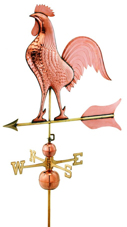 Polished Copper Rooster Weather Vane