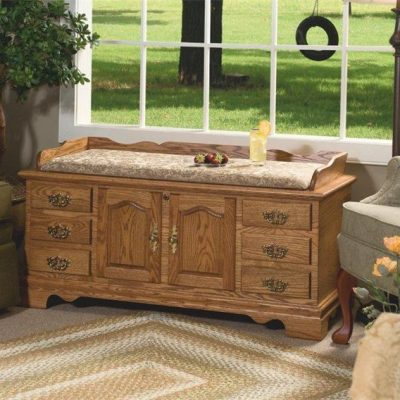 Amish Fancy Front Oak Hope Chest