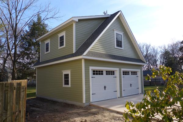24x24 detached garage front view with shed dormers and A dormers Garage Upgrades & Options