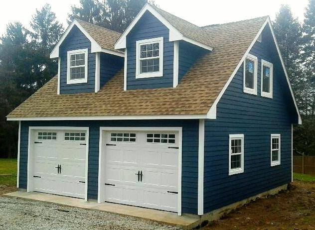 24x26 Amish Built Detached Garage 6 dormers and Attic Package and LP Smart Lap Siding Two Car Garages