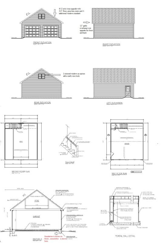 2 car detached garage with attic package. Our biggest upgrade is the attic pitch. 10 12 or 8 12 attic on detached garage. 544x800 Blue Prints And Plans